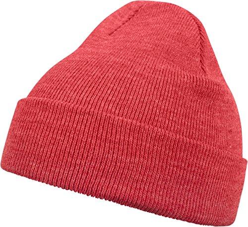 MSTRDS Unisex Strickmütze Basic Flap Beanie - einfarbige, neutrale Wintermütze für Damen und Herren ohne Druck und Stick, ohne Logo - Farbe h.red, Größe one size
