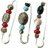 VALICLUD 3 Unids Collar Decorativo Pin de Seguridad Broche con Cuentas Vintage Cardigan Suéter Alfileres Pin de Solapa Grande