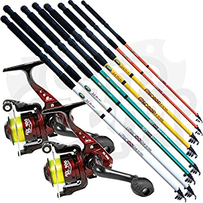 2 x New Lineaeffe Telescopic Coarse + Sea Fishing Travel Rods & 2 x SL30 1BB Reels + Pre-Spooled with Line Available in 6 7 8 & 10ft (Choose your Own) from Lineaeffe