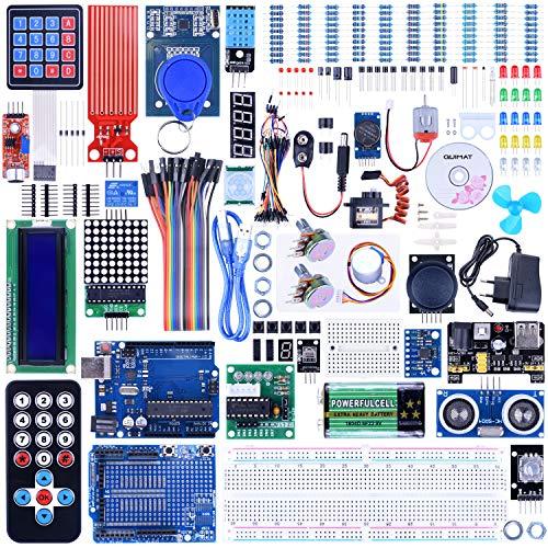 Quimat Kit Compatible con ArduinoIDE Más Completo y Avanzado con Tutorial, Placa UNOR3, Placa de Expansión, LCD1602, HC-SR501, Sensor Ultrasónico HC-SR04 con Soporte (69 Artículos)