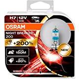 OSRAM NIGHT BREAKER 200, H7, +200% Luce, Lampada Alogena per Fari, 64210NB200-HCB, Auto 12V, Scatola Doppia (2 Lampade), Bian