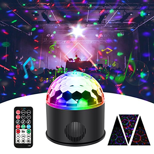 KINGSO Discokugel 9 Farbe Mini Bluetooth Musik LED Party Licht Bunte Lichteffekte Licht Bühnenbeleuchtung Kristall Magic Ball mit Fernbedienung...