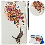 WIWJ Hülle Case für Samsung Galaxy Tab 4 7 Zoll,Ultra Slim Gemalt Schutzhülle Tasche Case Mit Schlaffunktion 3D lackiertes Tablet Lederetui Lederhülle-Katze und Schmetterling