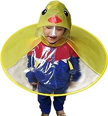 Derkoly niedliche Regenjacke mit Kapuze für Kinder, mit Cartoon-Tiermotiven (z. B. Cartoon-Ente), UFO-Form, faltbar, Regenhut/Regencape, kreativer Freihand-Poncho