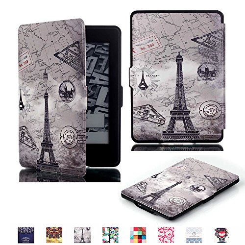 ProElite Ultra Slim Smart Flip case cover for all New Amazon Kindle Paperwhite (Auto Sleep/Wake up with magnetic lock) (Design-Eiffel )