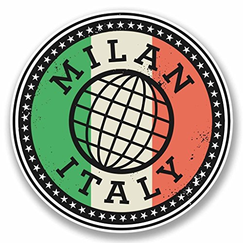 2x Mailand Italien Italia Vinyl Aufkleber Aufkleber Laptop Auto Reise Gepäck Label Tag # 9841 - 10cm/100mm Wide -