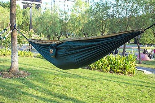 Doppelt Camping Hängematte Ultraleichte Atmungsaktiv, schnell trocknende Fallschirm Nylon Reise-Hängematte Bett für Rucksackreisen, Camping, Reisen, Dunkelgrün / Kamel