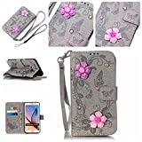 S6 Edge Plus Hülle,S6 Edge Plus Case,Cozy Hut ® Ultra Slim Flip Lederhülle / Ledertasche / Hülle / Case / Cover / Etui / Tasche für Samsung Galaxy S6 Edge Plus / 3D Diamant Strass Bling Glitzer Schmetterlings-Blumen Muster, Pu Leder Wallet Case Flip Cover Hüllen Schutzhülle Etui Ledertasche Lederhülle Handy Tasche Schale mit Standfunktion für Samsung Galaxy S6 Edge Plus Traumfänger Dream Catcher - grau Butterfly flowers