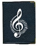 Pochette Etui Porte Cartes bancaire, credit, fidélité, noir - pour 24 cartes Note musique Cle Sol