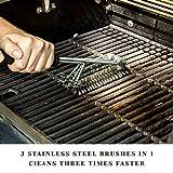 Iglatt BBQ Grill Reinigungsbürste reg; Stabile Drahtbürste 3 Edelstahlbürsten in 1 mit Langem Griff Borsten und beigelegte Grillzange Outdoor und Camping Perfekt für Emaille, Edelstahl und Gusseisen