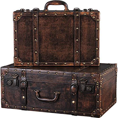 Maleta Conjunto de 2 equipaje retro Maletas Cajas de madera Decoración Fotografía Nostálgico Decoración...