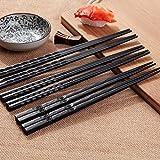 hinmay Legierung Stäbchen Anti-Rutsch Retro Design Sushi Stäbchen waschbar für Geschirrspüler Chinesisches Geschirr-Set für Geschenk (10Paar)