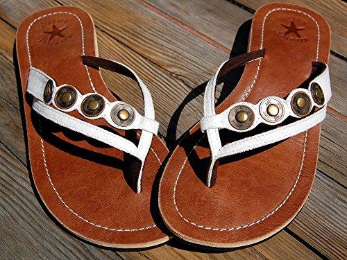 SEESTERN Damen Leder Zehentrenner Zehensandale Zehensteg Sandalen in Größe 36-44 Weißtöne
