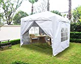 Greenbay Garden Pop Up Gazebo Party Tent Folding Wedding Canopy With 4 Sidewalls, 2 free WindBars and Carrying Bag White 2x2M
