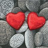 20 Servietten Love stones – Steine der Liebe / Herzen / rot 33x33cm