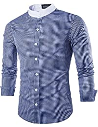 Jeansian Hombre Camisas Moda Manga Larga Men Fashion Slim Fit Casual Long Sleeves Shirts 8730