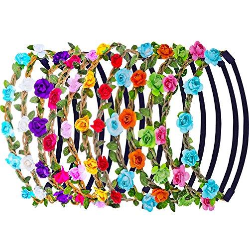 Blumen Stirnbänder,12er Pack Stirnband Kopfband mit Justierbaren Elastischen Band Farbig Haarband Damen Mädchen für Party Hochzeit Strand