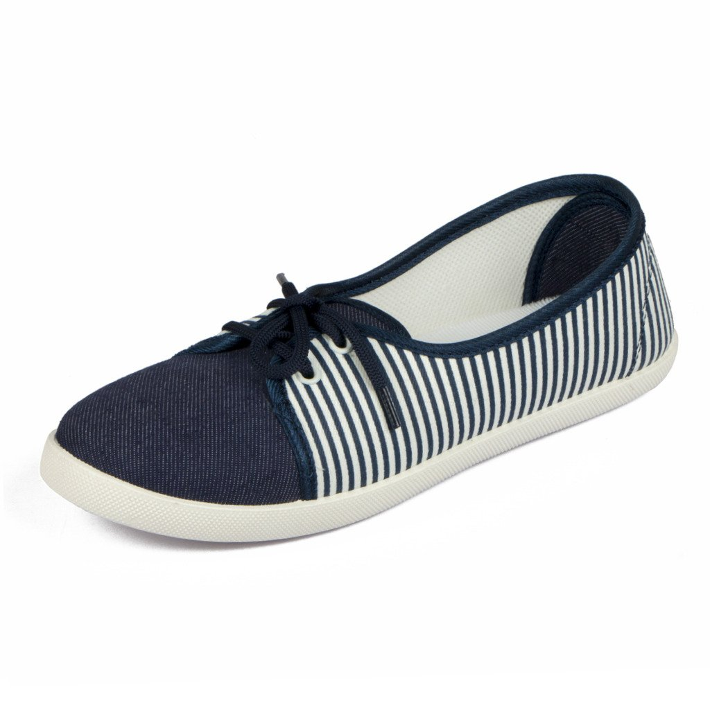 Asian shoes LR-82 Navy Blue White Canvas Women Shoes
