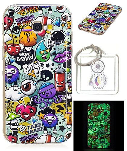 Galleria fotografica Ultra Slim Sottile in Silicone Luminous silicone ultra-softshell TPU per Galaxy A3 (2017), Cute Cartoon Pittura, Premium Protettiva Custodia CASE COVER SKIN strass per Samsung Galaxy A3 (2017) + Keychain
