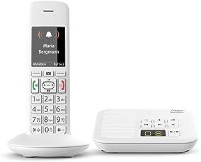 Gigaset E370A Telefon – Schnurloses Telefon/Mobilteil - mit TFT-Farbdisplay (6-zeilig)- Anrufbeantworter - Analog Telefon - Grosse Tasten - mit SOS-Taste - Weiß