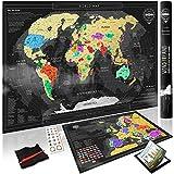 Premium Scratch Off World Map + BONUS Europa Karte | Rubbel Weltkarte mit Ländergrenzen | Gold Personalisiertes Landkarten Poster | Luxus Geschenk für Reiseliebhaber und als Reise Erinnerung | Prämie: Einmaliges E-Book und vollständiges Zubehörset