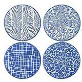 vancasso Takaki Set di Sottopentola 4 Pezzi in Ceramica e Sughero Protezione per Qualsiasi Tipo di Tavolo ø 20 cm