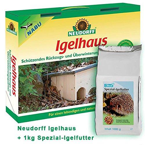 Neudorff Igelhaus inkl. 1 kg Spezial-Igelfutter - Neudorff Igelhaus Bausatz aus Holz + 1 kg Spezial-Igelfutter