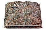 Grabbuch, Grabplatte, Grabstein, Grabkissen, Urnengrabstein, Liegegrabstein Modell Livre Pagina 40 x 30 x 8-9 cm Paradiso-Granit, poliert inkl. Gravur (Aluminium-Ornament Kreuz/Ähren)