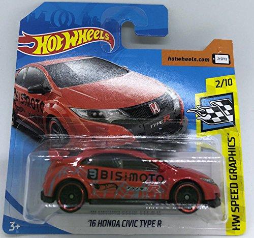 Hot Wheels 2018 '16 Honda Civic Type R Red 2/10 HW Speed Graphics 126/365 (Short Card)