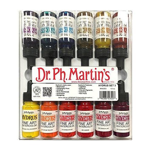Dr Ph. Martin's Hydrus Fine Art Watercolor, 0.5 oz, Set of 12 (Set 3) - Fine Art Ink