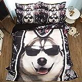 DOTBUY Bettbezug Set, 4 Teilig Bettwäsche 220 x 240cm 100% Polyester Mikrofaser Mode Gemütlich Printing Bettbezug-Set (Glücklicher Hund)