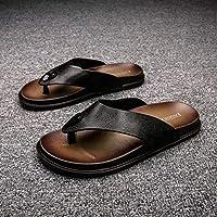 LJLLINGA Summer Men Shoes Flip Flops Anti-Slip Leather Shark Letter Comfortable Designer Beach Sandals Slippers