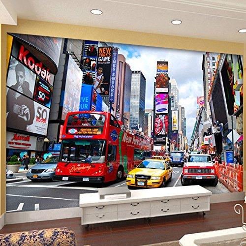 XIANRENGE Tapeten,Eigene 4D Wandbild Tapeten,Fresco Foto Tv Hintergrund Seide Wandmalerei,New York Street Red Bus Großer Hd-Kunstdruck Poster Bild Für Wohnzimmer Sofa Home Decor,160Cm(H) X250Cm(W)
