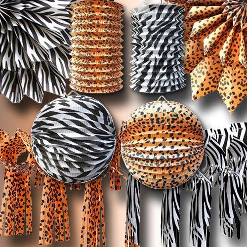Partyset Safari Zebra und (Party Leopard Dekorationen)