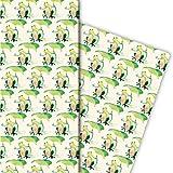 Lustiges Frosch Geschenkpapier für tolle Geschenk Verpackung (4 Bögen, 32 x 48cm) Dekorpapier,...