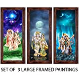 Ray Décor Set Of 3 Framed Painting (Each Frame Size 16.5 X 7.5 Inch, Set Of 3)-Radha Krishna Painting Wall Decor