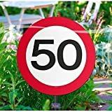 Folat Creative Gartenschild für Geburtstagsparty, Verkehrsschild, 50. Geburt