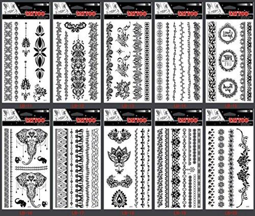 Spectre imperméable à l'eau et non toxique Spectre 10pcs Noir Indien Tribal style bijoux faux tatouages temporaires tatouage autocollants dans un paquet, y compris les dentelles de bijoux, les fleurs, les papillons, les éléphants, etc.