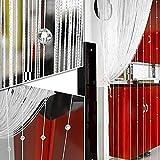 Fadenvorhang mit Kristallperlen, 1 m x 2 m, mit Quaste, Trennwand für Fenster, für Zuhause, Wohnzimmer, Schlafzimmer, Dekoration, weiß, Free Size