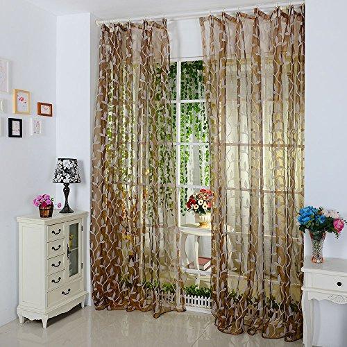Jamicy Vorhänge ösen Wohnzimmer Modern 100 x 200cm Auto Transparent Orientalisch Muster Blume Fenster Gardinen Deko Für Schlafzimmer Kinderzimmer Jungen (Kaffee)