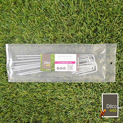 10 agrafes d'ancrage gazon synthétique - Hauteur 20 cm