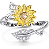 Flyow 925 Sterling Silver Ring Adjustable Open Sunflower and Leaves Rings with You are My Sunshine for Women Girls