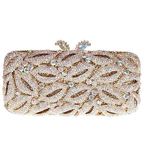 Bonjanvye Shining Studded Lips Shape Clutch Purse Rhinestone handbag for Ladies AB Gold