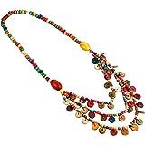 Amosfun - Collana da donna con perle di legno, stile Boemia, collana con perle colorate (colori casuali)
