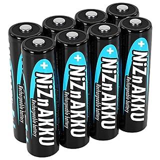 ANSMANN Mignon NiZn Akku AA 1,6V 2500mWh - Ni-Zn Accu AA wiederaufladbar - Kein Memory Effekt Akkus -  wiederaufladbare Batterien AA ideal für Fernbedienung Taschenlampe Spielzeug - 8 Akku Batterien