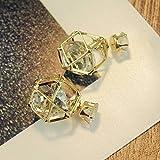 Thumby Cubo de Cristal Rubik Pendientes Aleación de Moda Temperamento de la Manera Pendientes de Diamantes GE Oreja Joyería, Oro