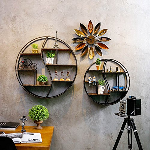 KINGSO Round Hollow Storage Cabinet Shop Display Shelf Industrial Floating Organizer–Wall Mounted with Black Coating 61IlS4raLUL