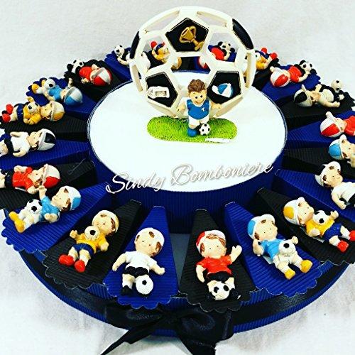 Battesimo nascita comunione bomboniera portaconfetti torta con ragazzo magnete calciatore calcio sport inter (torta da 20 fette + centrale)