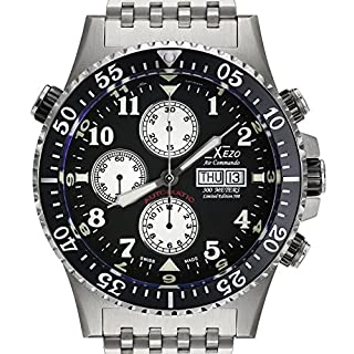 Xezo Air Commando Mens Divers, Pilots Valjoux 7750 Swiss Automatic Chronograph Watch, 30 ATM WR. Day, Date