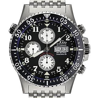 Xezo Air Commando Divers, Pilots Swiss Automatic Valjoux 7750 Chronograph Watch, Anti-Reflective Sapphire. 45mm Diameter